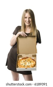 Beautiful young blond woman holding a pizza in a box.