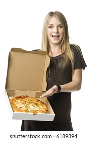Beautiful young blond woman holding a pizza in a box