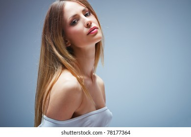 beautiful young blond woman portrait, studio shot