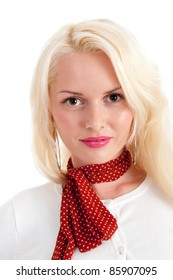 Beautiful young blonde female with red neck scarf isolated