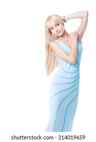 Beautiful young blonde woman in a blue dress