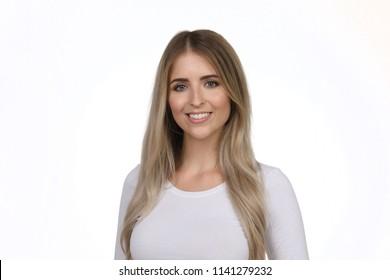 Beautiful young blonde woman smiling