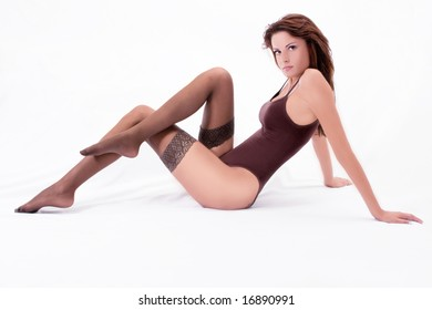 beautiful young brunette in brown body and hosiery
