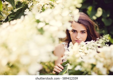 Beautiful young brunette girl with flowers in the park. Dressed in a blue dress. Among the trees and foliage.