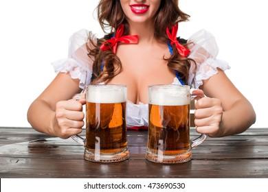 Beautiful young brunette girl of oktoberfest beer stein