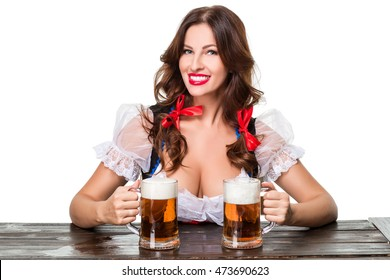 Beautiful young brunette girl of oktoberfest beer stein
