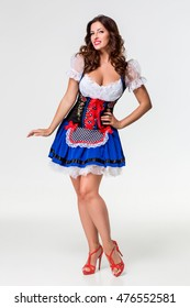 Beautiful young brunette girl of oktoberfest stein