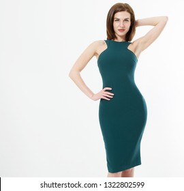 Beautiful young brunette hair business woman in green skinny dress and makeup isolated on white background . Business clothes for meetings and parties. Perfect body shape concept. Copy space