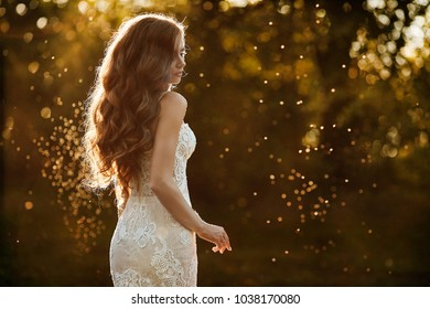 Beautiful and young brunette model girl, in white lace dress, is standing with her back at the park at the sunset