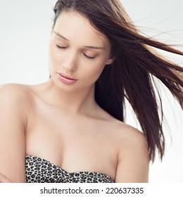 Beautiful young brunette posing.