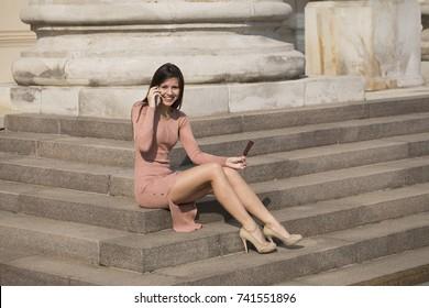 Beautiful Woman Beige Outdoor Images Stock Photos Vectors