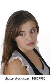 Beautiful young brunette woman in closeup