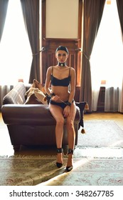 Beautiful young brunette woman posing in lingerie