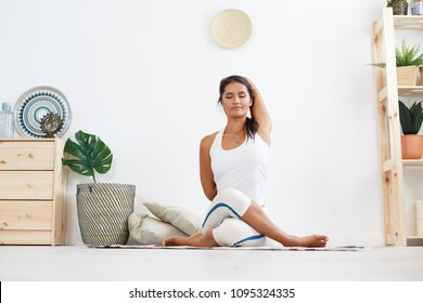 gomukhasana images stock photos  vectors  shutterstock