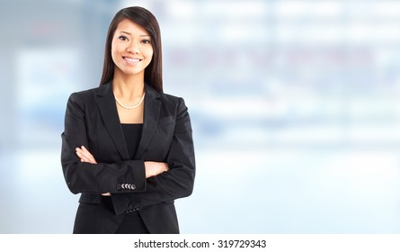 Beautiful young business woman. Accounting and finance background.