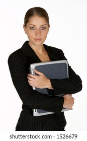 Beautiful Young Business Woman with Arms Folder Around Laptop