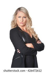 Beautiful young business woman frowns in disbelief, isolated on white