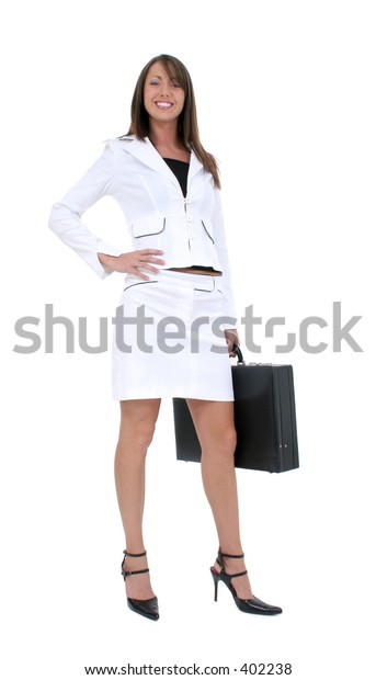 Beautiful Young Business Woman in white suit with briefcase.