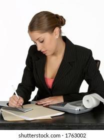 Beautiful Young Business Writing Check