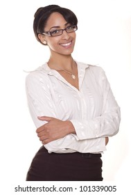 Beautiful young businesswoman smiling with glasses.