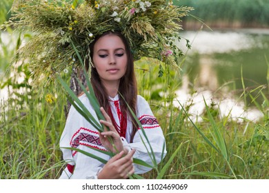 Beautiful young caucasian girl in national Ukrainian embroidery shirt and wreath of wild flowers portrait. Holiday of Ivan Kupala in Ukraine.