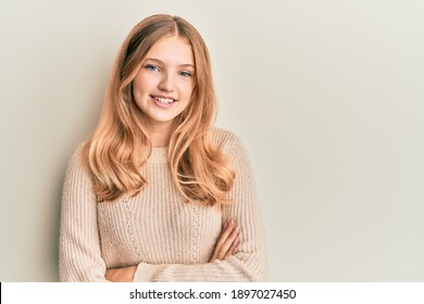 Beautiful young caucasian girl wearing casual clothes happy face smiling with crossed arms looking at the camera. positive person.