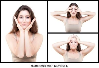 Beautiful young caucasian woman doing face yoga pose