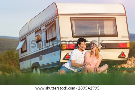 Beautiful Young Couple Front Camper Van Stock Photo Edit