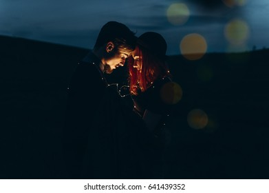 beautiful young couple photo shoot outdoors