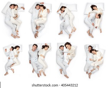 beautiful young couple sleep pose composition set isolated on white