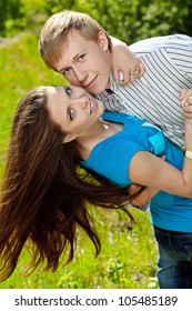 Beautiful young couple spending a time together outdoor.