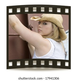 Beautiful young cowgirl on film