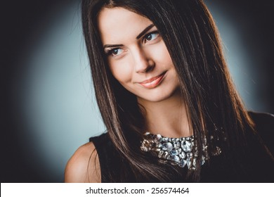 Beautiful, young and emotional girl in studio