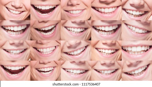 Beautiful young face with smiles and white teeth