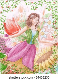 A beautiful young fairy is flying through a world of beautiful flowers