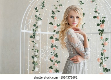 Beautiful young female in evening dress