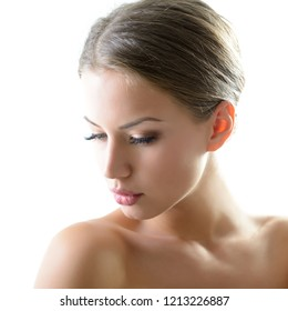 Beautiful young female face. Beauty treatment for young beautiful woman. Skin care, beautician treatments, body wax, mink eyelashe, eyebrow grooming, permanent chin hair removal concept