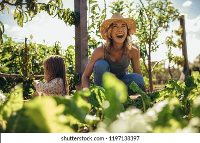 Beautiful young female farmer working in her garden with her daughter sitting by. Young mother and daughter working in the farm.