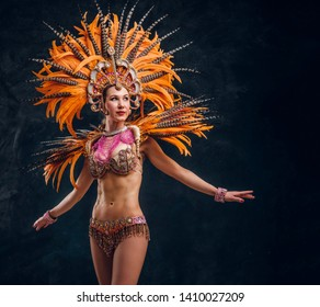 Beautiful young female in special feather costume is dacing at studio.