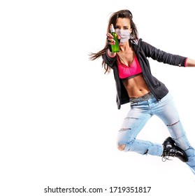 Beautiful young fit modern dancer lady wearing hygenic mask