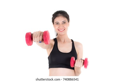 Beautiful young fitness woman in sportswear Lifting Dumbbells in Weight Training gym over white background