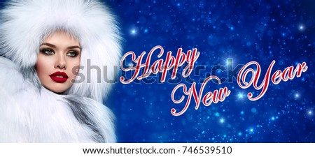 4300e2bc047d8 Beautiful young girl with bright make-up in a white fur hat and fur coat