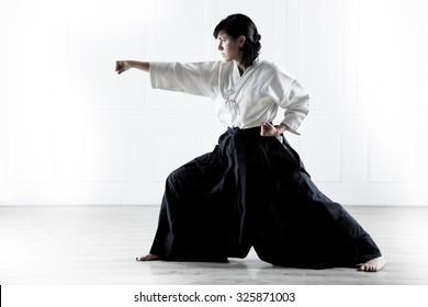 beautiful young girl  doing aikido