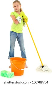 Beautiful Young Girl Doing Spring Cleaning Chores with Mop and Bucket barefoot over white background.