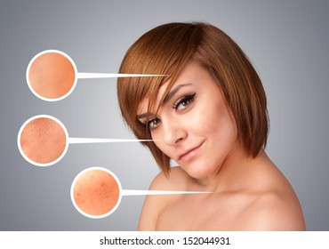 Beautiful young girl with facial care arrow signs of damaged skin on gradient background