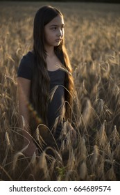 Beautiful young girl in a field of rye