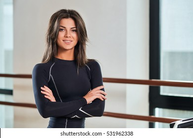 beautiful young girl fitness instructor