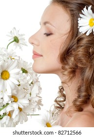 beautiful young girl with flowers
