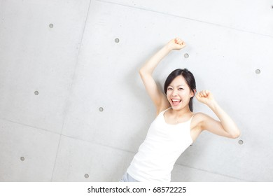 beautiful young girl at the gym doing   exercise