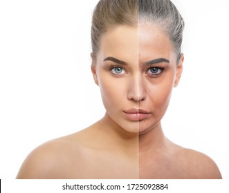 Beautiful young girl with half face of old tired woman with wrinkles, dark circles, comedones and and gray hair. Anti-aging, beauty treatment, aging and youth, lifting, skincare, hydration, surgery